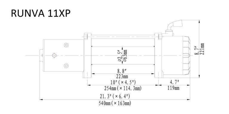 Runva 11XP 12VD BLACK winch dimensions