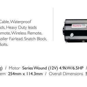 Details of Runva 11XP 12VD BLACK winch for 4x4 vehicle recovery