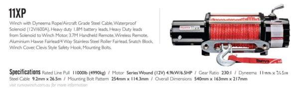 Runva 11XP 12VD BLACK winch