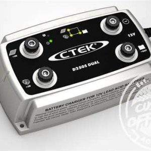 Diagonal view of CTEK D250S, DUAL DC to DC Solar Battery Charger, 12V, Deep Cycle AGM