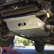 Underbody view of Toyota FJ Cruiser with bash plate from Custom Offroad Accessories