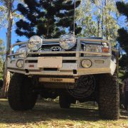 Toyota Landcruiser 79 series driving offroad