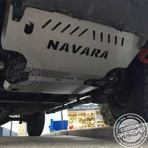Close up view of Nissan Navara D40 with bash plates installed by Custom Offroad Accessories