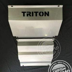 Vertical view of Mitsubishi Triton MQ steel bash plate